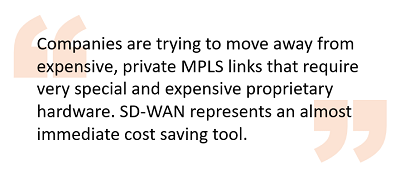 SD-WAN represents an almost immediate cost saving tool.